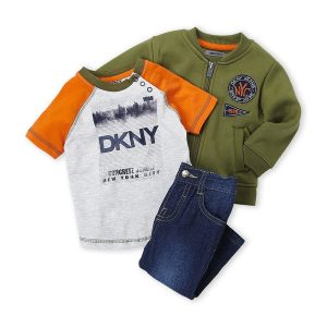 DKNY (Infant Boys) 3-Piece Knit Bomber Jacket & Jeans Set