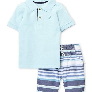 NAUTICA (Infant Boys) Two-Piece Polo & Stripe Shorts Set