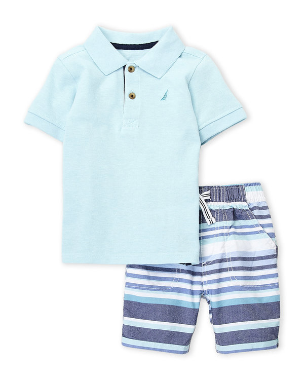 xNAUTICA (Infant Boys) Two-Piece Polo & Stripe Shorts Set