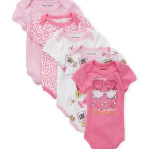 JUICY COUTURE (Newborn Girls) 5-Pack Sunglass Bodysuits