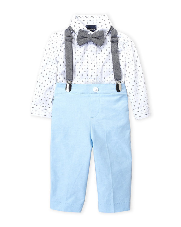 NAUTICA (Infant Boys) 4-Piece Anchor Bodysuit & Tapered Pants Set