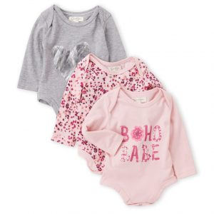 JESSICA SIMPSON (Newborn/Infant Girls) 3-Pack Printed Long Sleeve Bodysuits