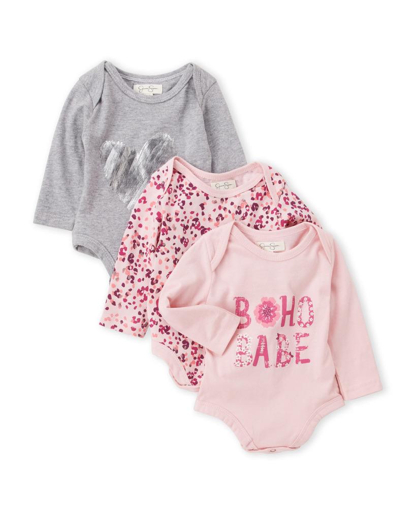 JESSICA SIMPSON (Newborn/Infant Girls) 3-Pack Printed Long Sleeve Bodysuits