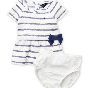 NAUTICA (Newborn Girls) Two-Piece Striped Terry Dress & Shorts Set