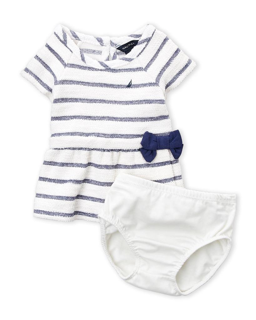 NAUTICA (Newborn Girls) Two-Piece Striped Terry Dress & Shorts Set