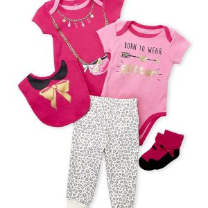 QUILTEX (Newborn Girls) 5-Piece Owl Glitter Set