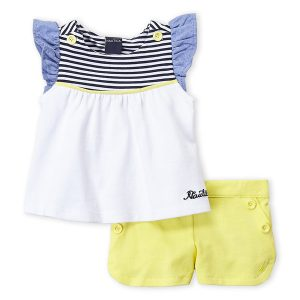 NAUTICA (Newborn Girls) Two-Piece Flutter Sleeve Top & Dolphin Hem Shorts Set