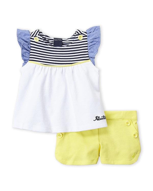 NAUTICA (Newborn Girls) Two-Piece Flutter Sleeve Top & Dolphin Hem Shorts Set