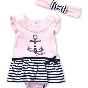 NAUTICA (Newborn Girls) Two-Piece Anchor Skirted Bodysuit & Headband Set