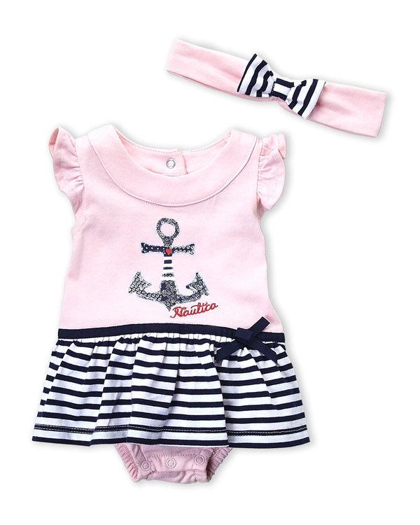 NAUTICA (Newborn Girls) Two-Piece Anchor Skirted Bodysuit & Headband Set