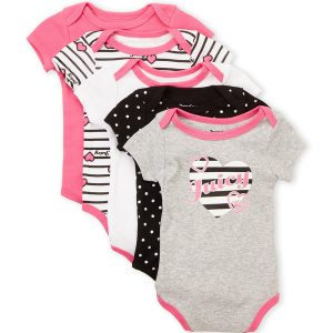 JUICY COUTURE (Newborn Girls) 5-Pack Assorted Bodysuits