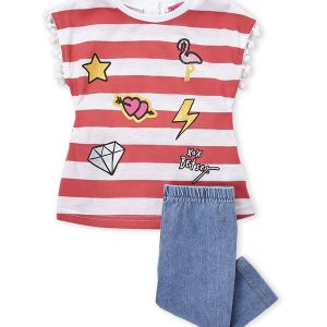 BETSEY JOHNSON (Infant Girls) Two-Piece Striped Top & Pants Set
