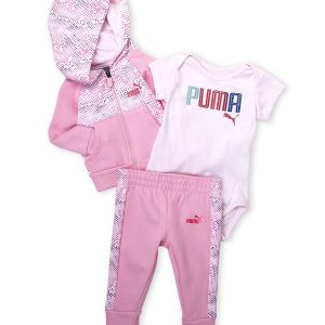 PUMA (Infant Girls) 3-Piece Hoodie, Bodysuit & Sweatpants Set
