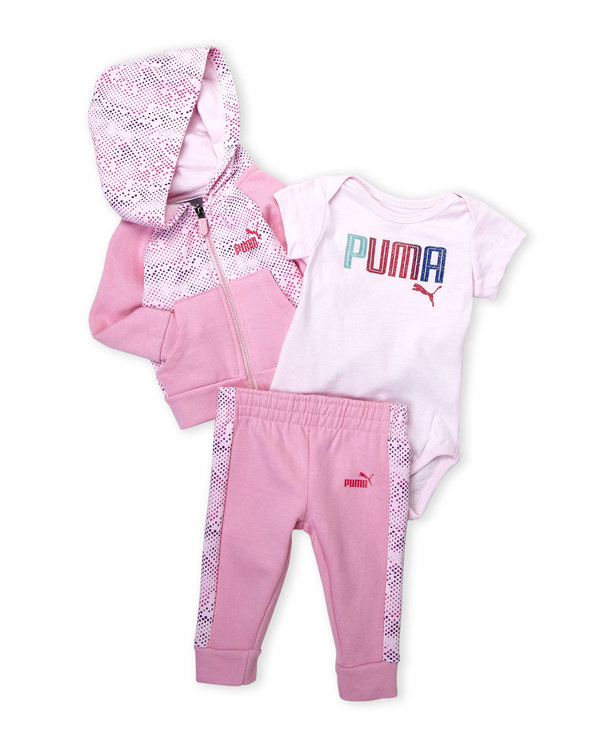 PUMA (Infant Girls) 3-Piece Hoodie, Bodysuit & Sweatpants Set