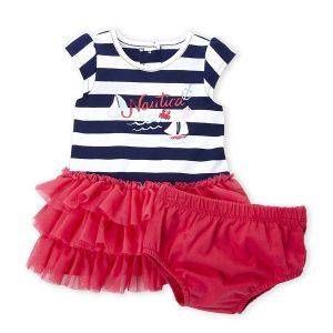 (Newborn Girls) Two-Piece Stripe Logo Tutu Dress & Bloomers Set