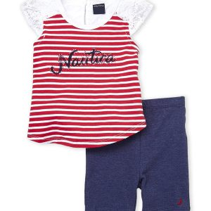 NAUTICA (Infant Girls) Two-Piece Stripe Lace Trim Top & Bike Shorts