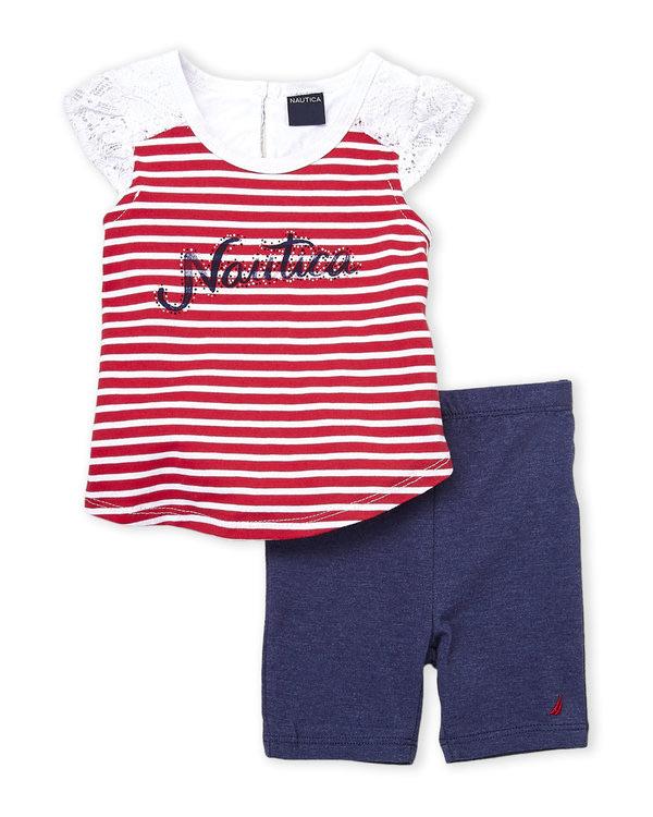 NAUTICA (Infant Girls) Two-Piece Stripe Lace Trim Top & Bike Shorts