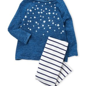 NAUTICA (Newborn Girls) Two-Piece Star Long Sleeve Top & Striped Leggings Se