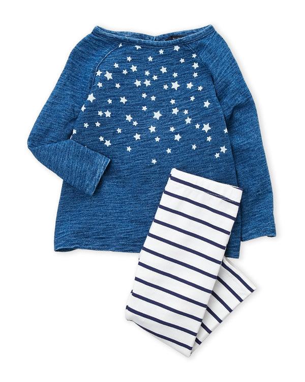 NAUTICA (Newborn Girls) Two-Piece Star Long Sleeve Top & Striped Leggings Se