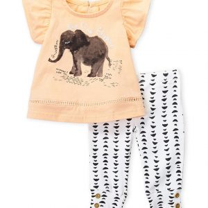 JESSICA SIMPSON (Newborn/Infant Girls) Two-Piece Elephant Top & Pants Set