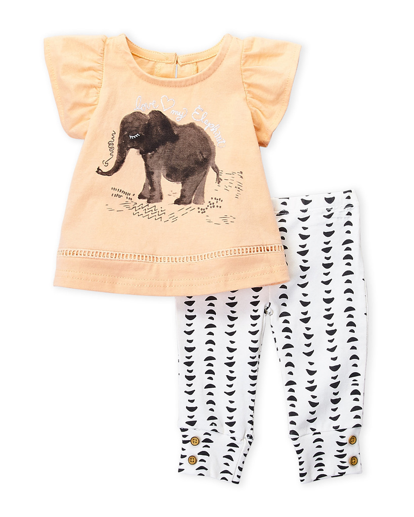 JESSICA SIMPSON (Newborn/Infant Girls) Two-Piece Elephant Top & Pants Set