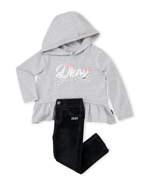 DKNY (Infant Girls) Two-Piece Sequin Logo Hooded Top & Skinny Jeans Set
