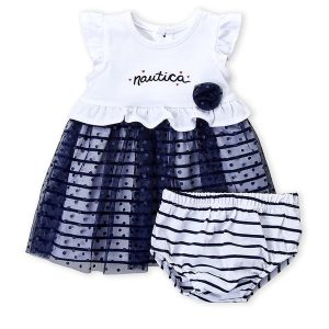 NAUTICA (Newborn Girls) Two-Piece Flutter Swiss Dot Dress & Bloomers Set