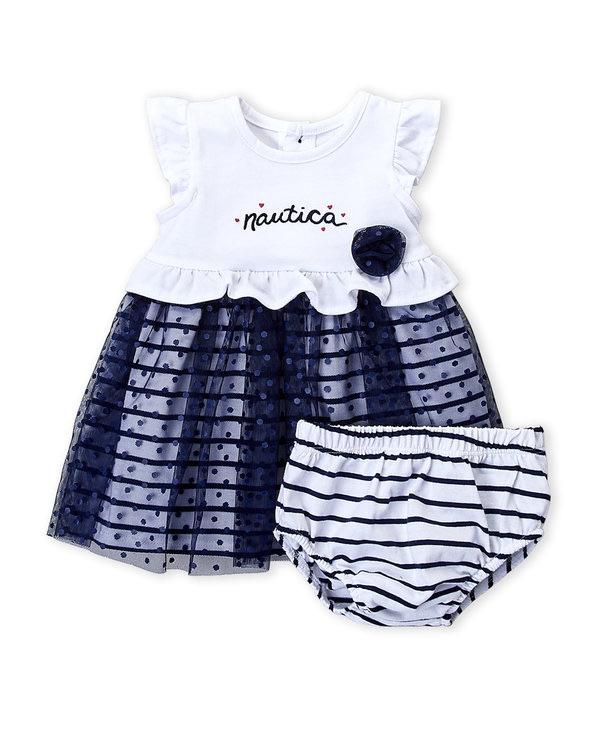 NAUTICA (Newborn Girls) Two-Piece Flutter Swiss Dot Dress & Bloomers Set