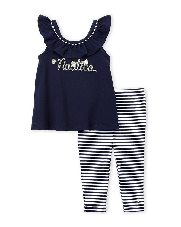 NAUTICA (Newborn Girls) Two-Piece Embroidered Top & Stripe Leggings Set