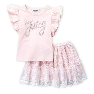 JUICY COUTURE (Infant Girls) Two-Piece Studded Logo Flutter Top & Skirt Set