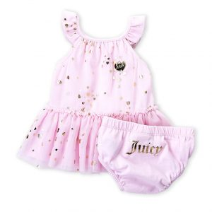 JUICY COUTURE (Newborn Girls) Two-Piece Metallic Heart Tutu Bodysuit & Bloomers Set