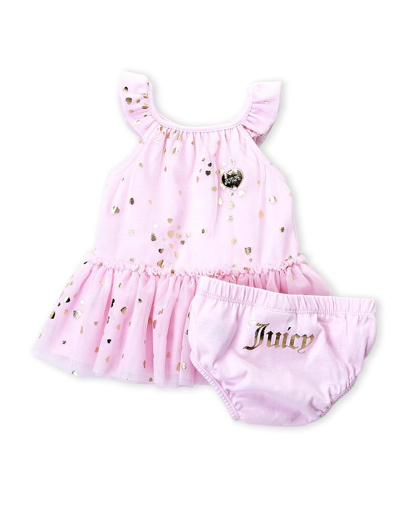 JUICY COUTURE (Newborn Girls) Two-Piece Metallic Heart Tutu Bodysuit & Bloomers Set