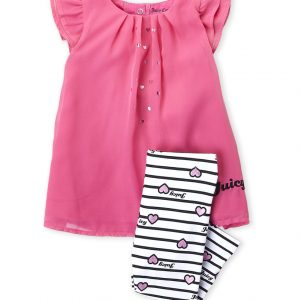 JUICY COUTURE (Newborn Girls) Two-Piece Heart Chiffon Tunic & Stripe Leggings Set