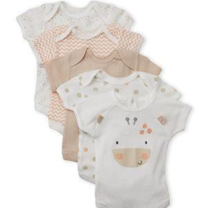 RENE ROFE (Newborn) 5-Pack Giraffe Bodysuits