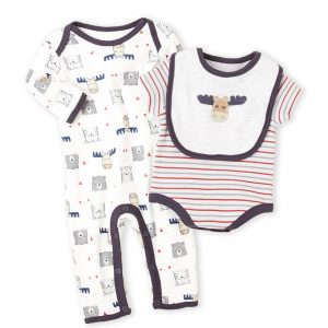 RENE ROFE (Newborn/Infant Boys) 3-Piece Cow Bodysuit & Coverall Set