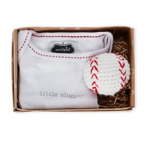 MUD PIE (Infant Boys) Two-Piece Baseball Bodysuit & Rattle Gift Set