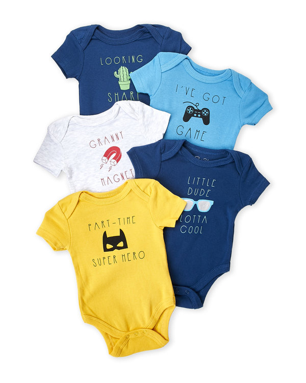 RENE ROFE (Newborn Boys) 5-Pack Cool Phases Bodysuits