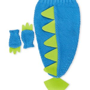 BABY ESSENTIALS (Infant Boys) Two-Piece Dino Tail & Mittens Photo Prop Set