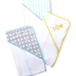 LUVABLE FRIENDS (Newborn/Infant) 3-Pack Hooded Towels