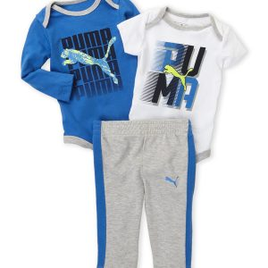 PUMA (Newborn Boys) 3-Piece Logo Bodysuits & Pants Set