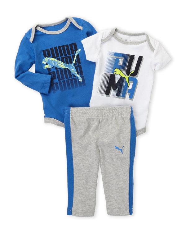 PUMA (Newborn Boys) 3-Piece Logo Bodysuits & Pants Set