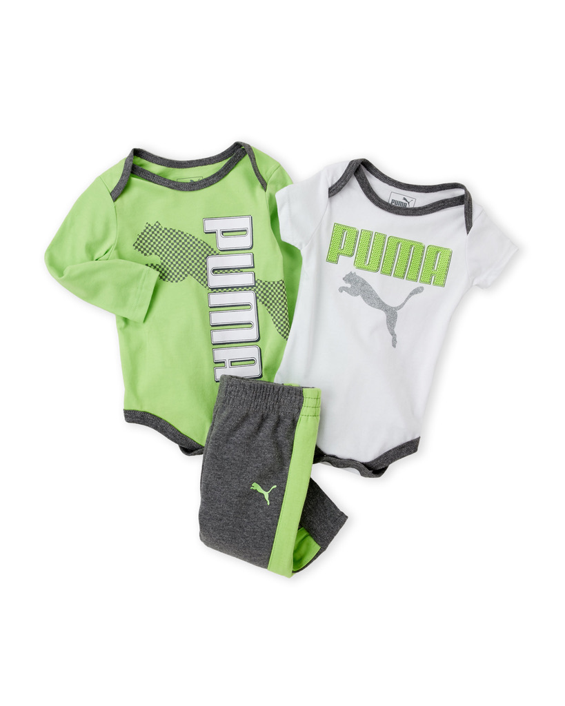PUMA (Newborn Boys) 3-Piece Printed Bodysuit & Pants Set