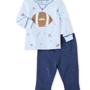 VITAMINS BABY (Newborn Boys) Two-Piece Football Long Sleeve Tee & Pants Set