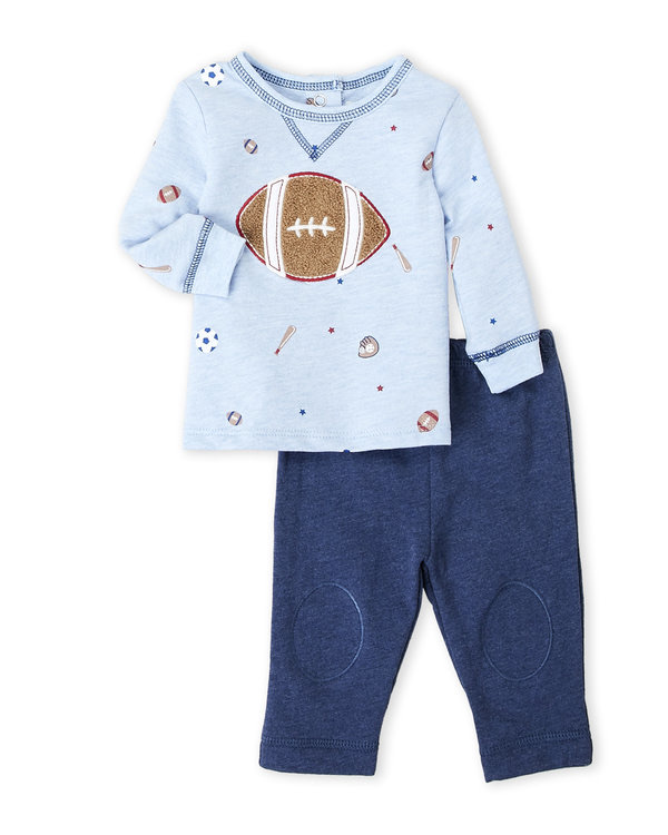 VITAMINS BABY (Newborn Boys) Two-Piece Football Long Sleeve Tee & Pants Set