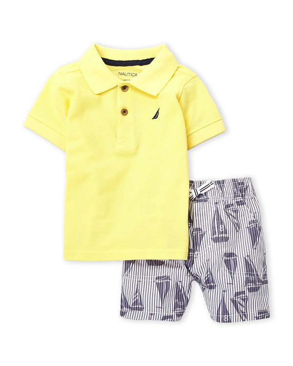 NAUTICA (Infant Boys) Two-Piece Polo & Sailboat Shorts Set