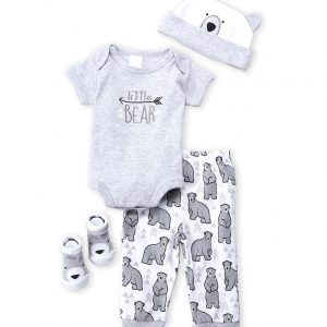 BABY ESSENTIALS (Newborn Boys) 4-Piece Little Bear Bodysuit, Pants, Hat & Socks Set