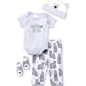 BABY ESSENTIALS (Newborn Boys) 4-Piece Little Bear Bodysuit, Pants, Hat & Socks Set