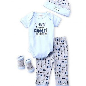 "BABY ESSENTIALS (Newborn Boys) 4-Piece ""Eat, Sleep & Cuddle"" Bodysuit, Pants, Hat & Socks Set"