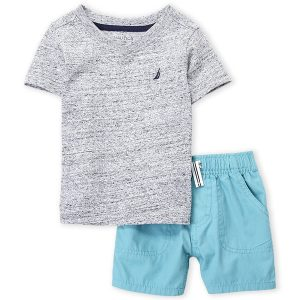 NAUTICA (Infant Boys) Two-Piece Grey V-Neck Tee & Shorts Set