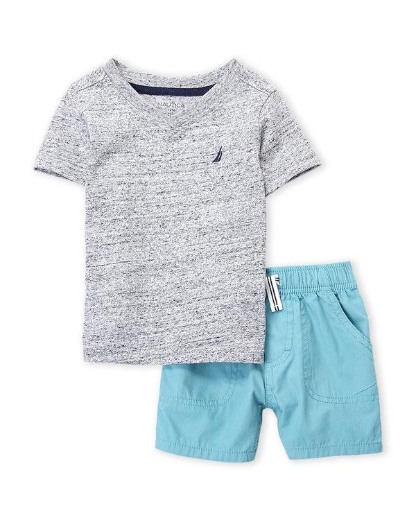 NAUTICA (Infant Boys) Two-Piece Grey V-Neck Tee & Shorts Set